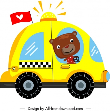 car icon stylized cartoon bear colorful flat sketch