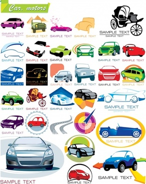 vehicles logotypes collection modern vintage icons colorful design