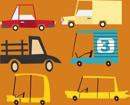 car icons colored flat shapes sketch