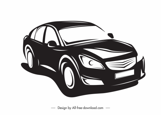 car mode icon black white classic silhouette sketch