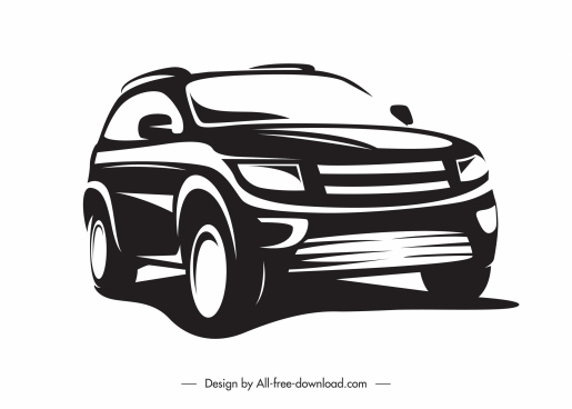 car mode icon silhouette sketch black white handdrawn