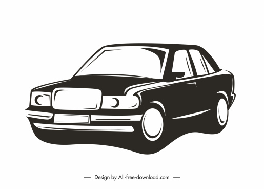 car model icon classical design silhouette sketch