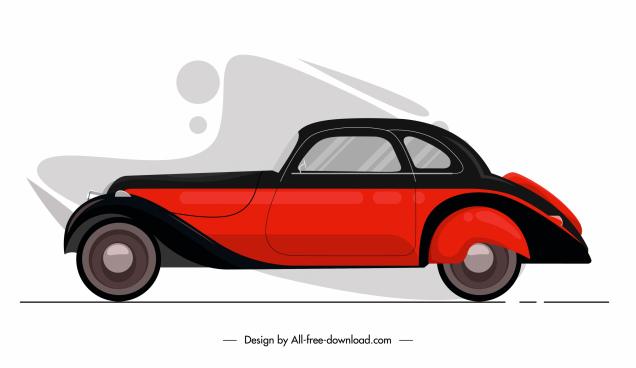 car model icon colored flat sketch