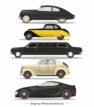 car model icons modern classic shapes sketch