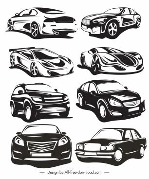car modes icons black white 3d handdrawn sketch