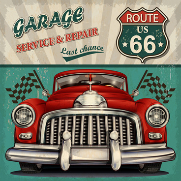 car posters vintage style vector