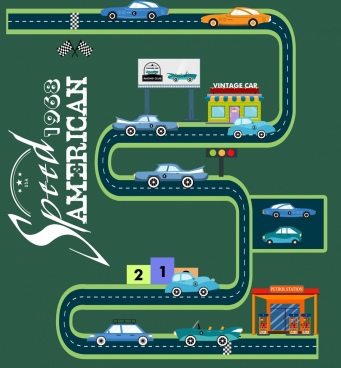 car race advertising curved road calligraphy decoration