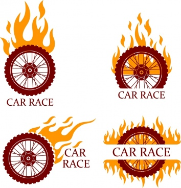 car race design elements flaming bike wheels isolation