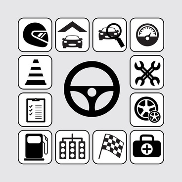 car racing icons isolated with black and white