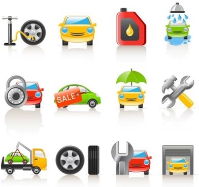 car service icons shiny modern colorful symbols sketch