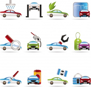 car service icons modern colored flat symbols sketch