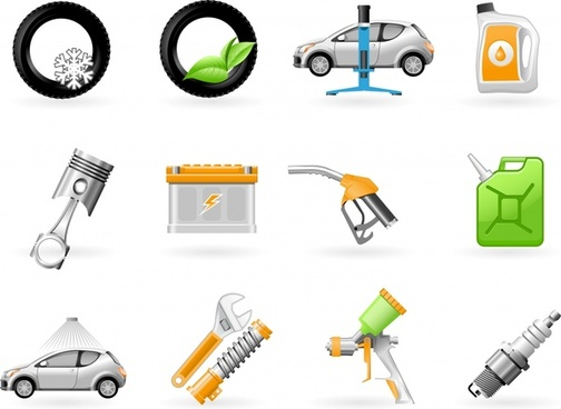 car service icons modern colored emblems sketch