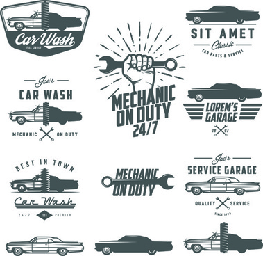 car repair vintage logos vector