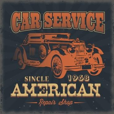 car service advertisement antique icon decor dark texts