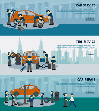 car service banner sets illustration with working human