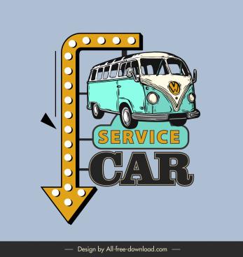 car service sign template retro bus arrow sketch