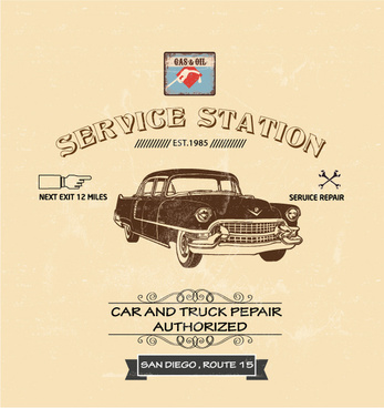 car service station poster design in vintage style