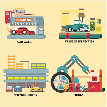 car services vector illustration in colored flat style