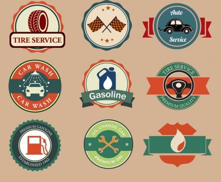 car signs collection various retro design circle shapes