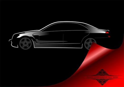 car advertising banner elegant dark black 3d curled