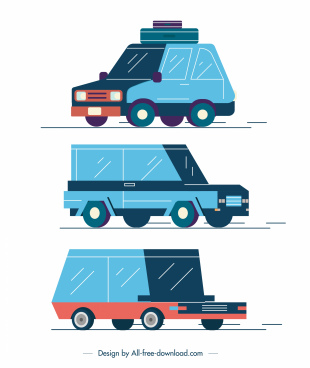 car vehicles icons blue classic 3d sketch