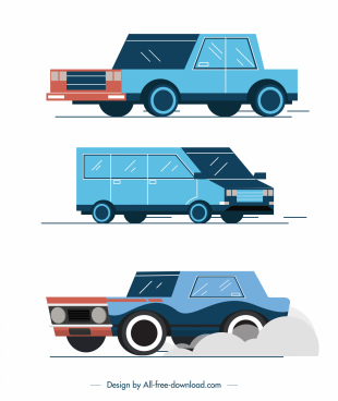 car vehicles icons blue classic sketch