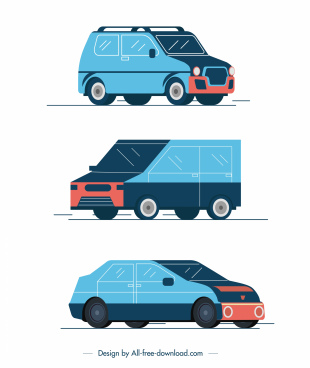 car vehicles icons sedan van sketch classical design