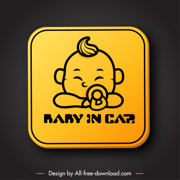 car warning signboard template cute baby sketch