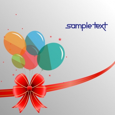 card background colorful balloon ribbons decoration