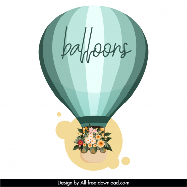 card background flying ballon flowers decor