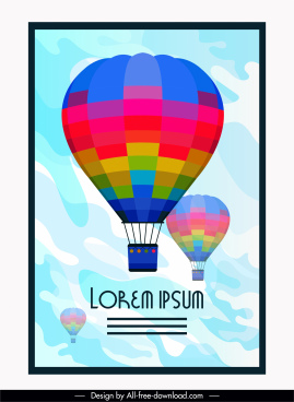 card background hot air balloon sketch colorful flat