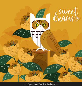 card background owl flowers decor dark classic design