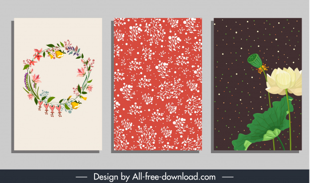 card background templates natural wreath lotus floral decor