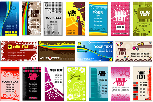 card background templates set vector graphics