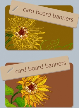 card board banner template sunflower icon sketch
