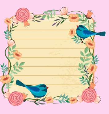 card border template flowers birds icons decoration