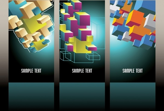 business card templates colorful modern 3d cubes decor