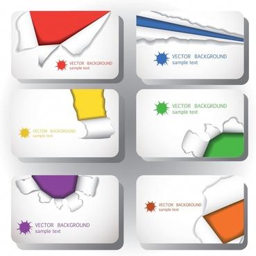 card business card template vector tear marks
