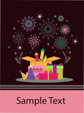 card cover background colorful presents fireworks ornament