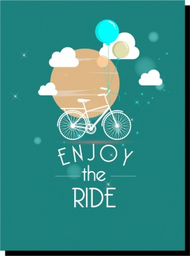 card cover bicycle background floating object balloons decoration