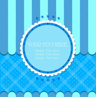 card cover template blue paper cut decor