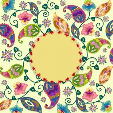 card cover template colorful flowers decor seamless border