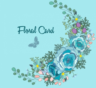 card cover template colorful flowers decoration