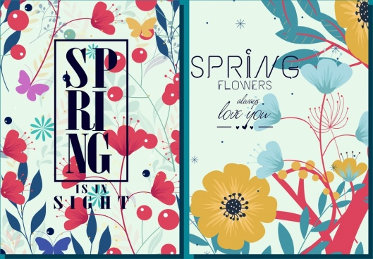 card cover template colorful spring flowers decoration