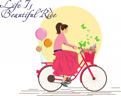 card cover template girl riding bicycle background