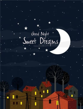 card cover template night moonlight stars house icons
