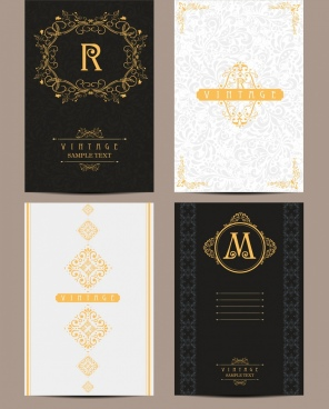 card cover template yellow vintage royal style