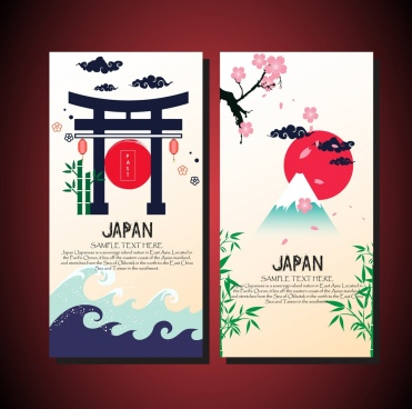 card cover templates japan design elements decoration