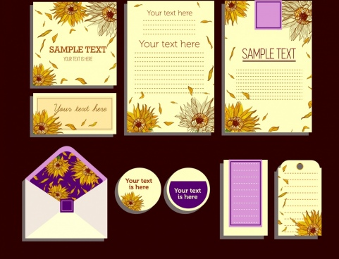 card decorative sets flowers icons decoration