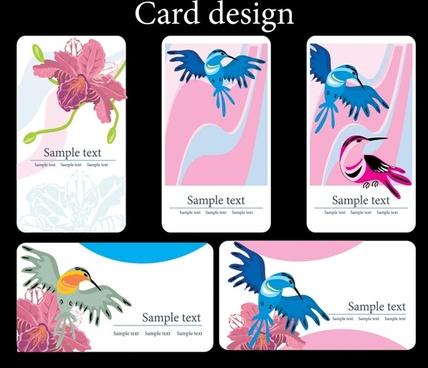 card templates nature theme flowers birds icons decor